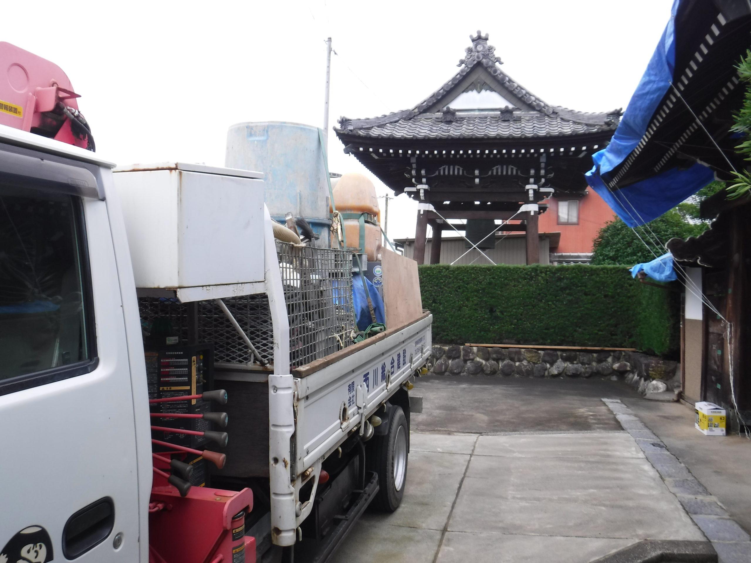 岐阜県 満念寺山門 地盤改良工事